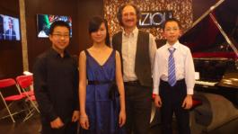 Steven Gong, Angeni Wang & William Lu after Young Stars Fazioli Piano Recital