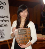 Clarabel Luk with BCRMTA Highest Mark Trophy for her ARCT Diploma Piano Exam